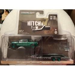 Greenlight Hitch & Tow Chevy Silverado & Trailer - Green Machine!
