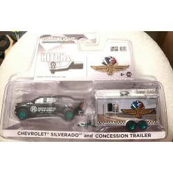 Greenlight Hitch & Tow Indy 500 Chevy Silverado & Concession Trailer - Green Machine!